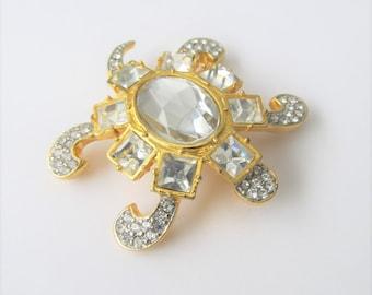 Vintage Valentino Garavani Swarovski Turtle Brooch Pin / Rare Style 1980's Italian Designer Crystal Jewelry Pin
