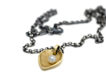 "18K gold chunky heart/leaf necklace on oxidized silver cable chain ""the offering"""