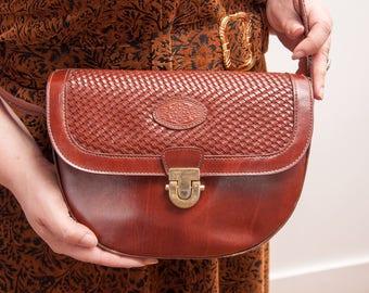 Vintage Brown Leather Satchel - Vintage Structured Leather Purse - Vtg Brown Leather Bag