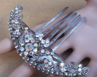 Vintage Indonesian rhinestone hair comb hair accessory hair pin hair pick hair ornament headdress headpiece