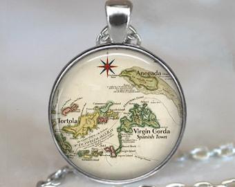 British Virgin Islands map necklace, Anegada map, Tortola map, Virgin Gorda map Caribbean wedding necklace key chain key ring key fob