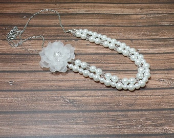 White Double Strand Flower Necklace - Lucite Flower Necklace - Pearl Necklace