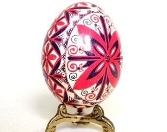Poltavskaja Pysanka with Cross Red pysanka chicken egg batik painted pysanka