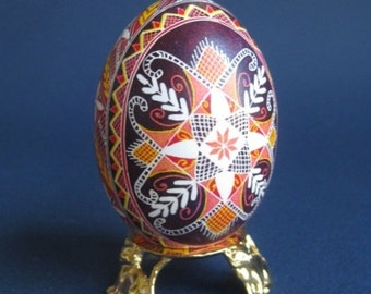 Pysanka traditional design with Cross Ukrainian Easter egg batik decorated  egg shell thoughtful gift get well for God Mother religious gift
