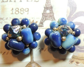 Mid Cenutry Vintage Earrings Art Glass Blue Cluster Clip On Hong Kong Vintage Jewelry