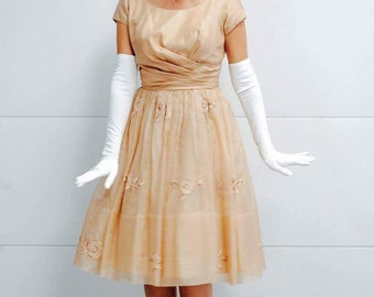 Vintage Light Caramel Colored Party Dress with tulle under later and floral embroidery