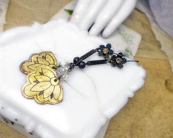 Rustic Assemblage Earrings - Lotus Flower - Vintage Bead & Metal Earrings - Faceted ab Glass Beads, Oxidized Dark Metal, Floral