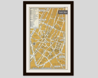 Brussels Belgium Map, City Map, Street Map, 1950s, 2 Sided, Copenhagen Denmark Map, Black and White, Brown