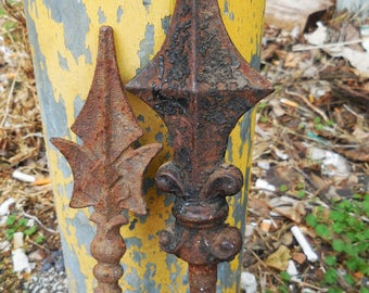 2 antique Wrought iron fence finials rods Garden Stakes sticks Aged rustic French country Victorian Gothic supplies