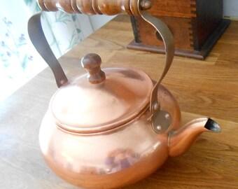 Vintage Copper Plated Tea Kettle as Decor