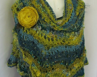 Large Multicolor Knitted Feather and Fan Wrap
