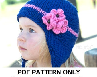 Items similar to PDF KNITTING PATTERN, Earflap Cap with I ...