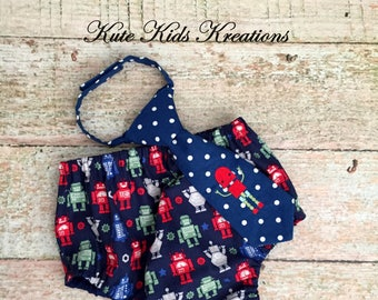 Baby Boy's Diaper Cover and Necktie, Robots, Sizes 12M and 18M, Photo Prop, READY TO SHIP
