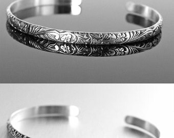 Thin Sterling Silver Cuff Bracelet, Oxidized Silver Bracelet, Solid Sterling Stackable Bracelet, Open Bangle Bracelet, Everyday Jewelry