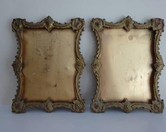 AMAZING  Antique PAIR Victorian Metal Frames - Ornate Edwardian Gothic Details