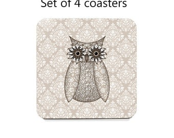 Tan owl coaster set, drink coasters, set of 4 coasters with cork bottoms, owl lovers gift, bird coasters, cute owl decor