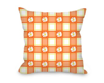 Daisy pillow, throw pillow cover, orange plaid, floral pillow, decorative pillow cover, printed accent pillow, farmhouse decor, home decor