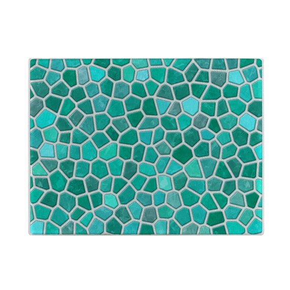 Turquoise glass cutting board faux mosaic cuttingboard - Decorative tempered glass cutting boards ...