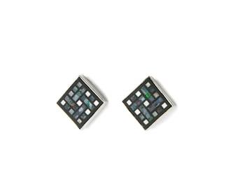 Labyrinth Opal Mosaic Sterling Silver Earrings Earrings