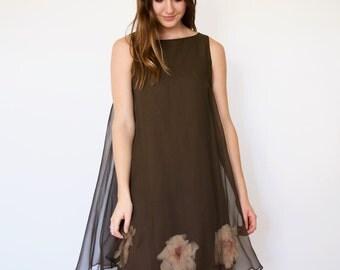 60s Brown Giant 3D Flower Underlay Chiffon Trapeze Babydoll Dress xs s