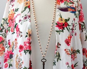 Vintage skeleton key necklace antique repurposed upcycled jewelry peach rosary chain necklace bohemian jewelry steampunk necklace women gift