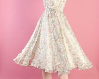 Vintage 1960s Floral Chiffon Dress - 60s Fit and Flare Dress - Rosy Day Dress