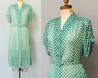 Vintage 1940's Green Polka Dot Dress