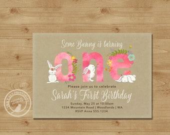Pink 1st Birthday Invitation, Fun to be One, Girl First Birthday Invite |  Bunny Rabbit 1st Birthday Digital | Printable  | 1516kraft