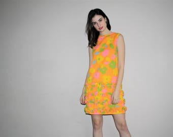 1960s Mod Neon Psychedelic Flora Graphic Frill Dress - 60s Mod Dresses - 60s Clothing - WV0002