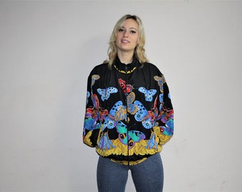 90s Vintage Novelty Neon Rainbow Butterfly Graphic Windbreaker Jacket - 90s Clothing - WV0118