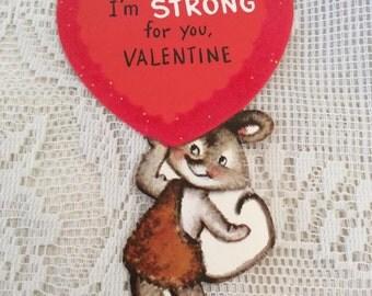 Vintage 1950s Valentine Card Little Mouse Strongman Heart Has Flocking & Glitter Collectible Paper Ephemera Arts Crafts Scrap Booking