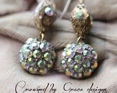 Incandescently Happy earrings ~ vintage assemblage earrings ooak iridescent rhinestones buttons crowned by grace