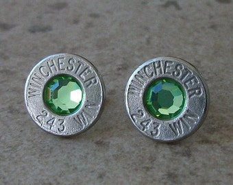 Winchester 243 Nickel Bullet Earring, Lightweight Thin Cut, Peridot Swarovski Crystal, Surgical Steel, Sterling Silver Posts - 483