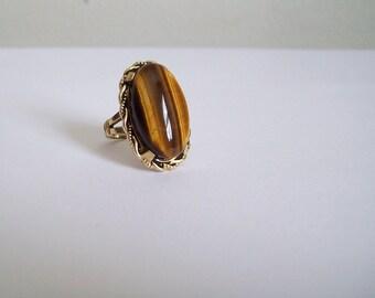 Vintage Tigers Eye ring 10K gold filled band healing stone statement ring size 6 1/2 Free shipping to USA