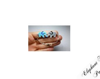 Elephant Charm Bead PATTERNS, Blue and Gray, Miyuki Bead Weaving, Brick Stitch