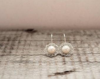 White Pearl Earrings. Drop Pearl Earrings. Silver Wire Crochet Earrings. Pearl Birthstone Earrings. Wedding Jewellery. Made to Order