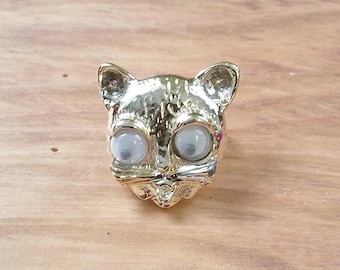 Vintage Brooch Googly Eyed Gold Kitty Cat Pin 50's 60's Mid Century Fashion Jewelry Kitsch Cute & Small
