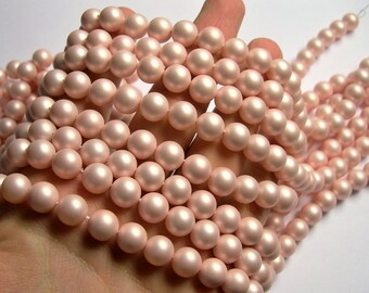 Shell pearl - 10 mm round - Satin matte  pearl  - light pink - 1 full strand - 40 beads - SPT38