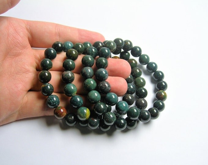 Bloodstone - 10mm round beads - 19 beads - 1 set - A quality  - HSG51