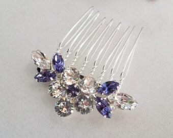 Wedding Rhinestone Hair Comb Bridal Rhinestone Hair Comb wedding Rhinestone Hair Comb Swarovski Crystals Purple bridal Hair Comb Caelin