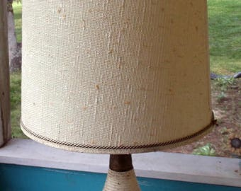 "Lamp Vintage Mid Century Modern Ceramic Table Lamp with oversized vintage shade 31 1/2"" tall"