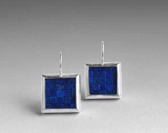 Mosaic Earrings - Lapis Lazuli Silver Earrings - Square Earrings - Blue Gemstone Earrings - Mosaic Jewelry - Statement Earrings - Artesserae