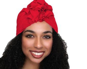 Flower Turban, Chemo Hat, Sleep Hat, Alopecia Cap,  Rayon Knit, Pre-tied Turban, Red Turban 300-12