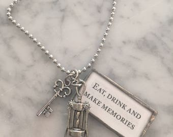 Charm Necklace, Soldered Charm Necklace, Eat, Drink & MAKE MEMORIES, Word Charm - Charmed Vintage