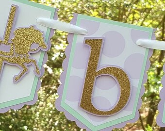 Carousel Horse Pennant Baby Banner in Lavender, Mint, and Gold