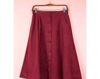 VTG High Waist Textured Midi Skirt - Size 10