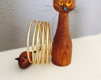 Vintage Cat and Mouse Letter Holder, Desk Accessory, Retro Wood Cat Mouse, Bill Organizer