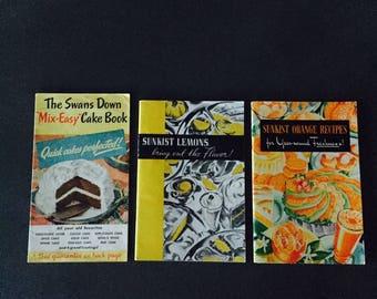 Vintage Advertising Cookbooks Swans Down Cake Sunkist Lemons Sunkist Orange Recipes 3 Books