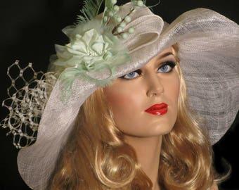 MINT JULEP DERBY Hat, Femme White & Mint Green Sinamay Kentucky Derby Hat, Wide Brim Derby Hat, Mint Wedding Hat, Garden Party, High Tea Hat