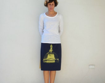 Notre Dame T Shirt Skirt Womens Skirt Cotton Skirt Handmade Skirt Ecofriendly Clothing Spring Skirt ohzie
